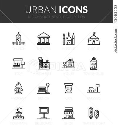Outline black icons set 45063358