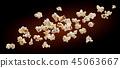 Popcorn isolated on black background. Falling or flying popcorn. Close-up 45063667