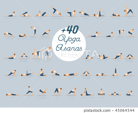 40 yoga asanas with names  stock illustration 45064544