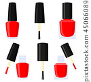 Colorful cartoon red nail polish silhouette set 45066089