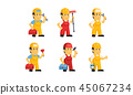 Builder workers in uniform with different tools, construction staff cartoon characters vector 45067234