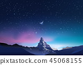 Snowy mountains, pink and blue night sky landscape with stars 45068155