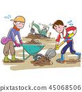 토사 철거 작업에 땀을 흘리는 사람들 자원 봉사 45068506
