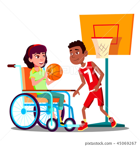 Happy Disabled Girl On Wheelchair Playing Basketball With Friend Vector. Isolated Illustration 45069267