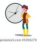Late, Girl Fright Looking At The Clock Vector. Isolated Illustration 45069279