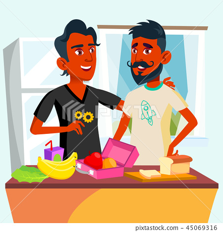 Couple Of Young Teen Gays Cooking Food Together In Kitchen Vector. Isolated Illustration 45069316