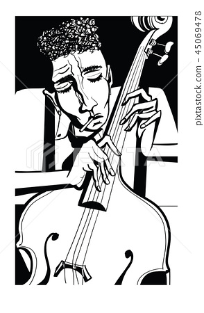 Jazz poster with double bass 45069478