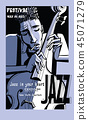 Jazz poster with double bass 45071279