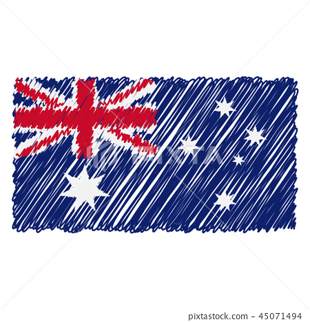 Hand Drawn National Flag Of Australia Isolated On A White Background. Vector Sketch Style 45071494