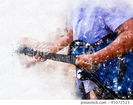 playing acoustic Guitar watercolor painting. 45072523