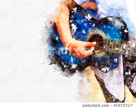 playing acoustic Guitar watercolor painting. 45072527