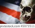 Human skull against american flag 45073511