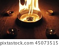 Old pentagram burning in flames 45073515