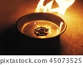 Old pentagram burning in flames 45073525