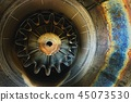 Background of an old Jet engine close-up photo 45073530