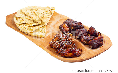 beer snack on the wooden plate 45073971