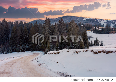 wonderful winter countryside in mountains at dusk 45074012