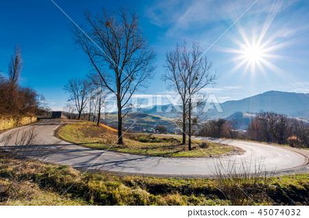 serpentine in beautiful mountainous countryside 45074032
