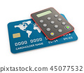 3d Illustration of bank card with security token, isolated white 45077532