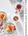 Traditional belgian waffles with fresh fruit 45077798