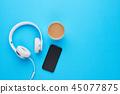 Minimalist flat lay music concept. 45077875