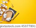 Minimalist flat lay desktop concept. 45077891