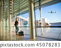 airport, woman, airplane 45078283