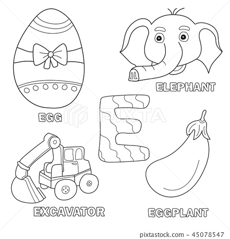 Kids Alphabet Coloring Book Page With Outlined Stock Illustration 45078547 Pixta