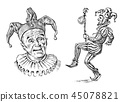 Funny jester in fool s cap. Clown in costume. Comedian character. Vintage engraved illustration 45078821