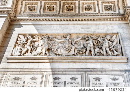 Details of Arc de Triomphe in Paris 45079234