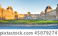 Louvre museum with landmark entrance - pyramid 45079274