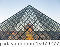 Louvre museum with landmark entrance - pyramid 45079277