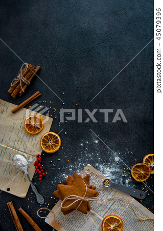 Top view of gingerbread cookies preparation 45079396