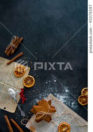 Top view of gingerbread cookies preparation 45079397