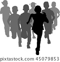 group of preschoolers running silhouettes 45079853