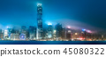 Skyline of Hong Kong in mist from Kowloon, China 45080322