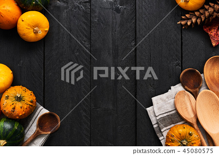 Autumn vegetables cooking preparation. Food frame 45080575