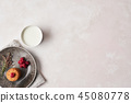 Whole grain cookies with raspberries and milk 45080778