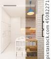 3d illustration kitchen interior design panorama in white color. 45082271