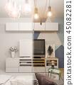 3d illustration living room interior design. Modern studio apart 45082281