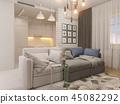 3d illustration living room and kitchen interior design. Modern  45082292