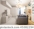 3d illustration living room and kitchen interior design. Modern  45082294