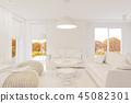 3d render modern living room interior design with fireplace  45082301