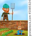 rabbit, bunny, farmer 45085924