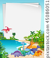 Dinosaur in nature paper theme 45086051