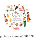 Thailand cartoon vector banner Travel illustration 45088078