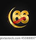 66 years anniversary gold half moon and glitter. 45088897