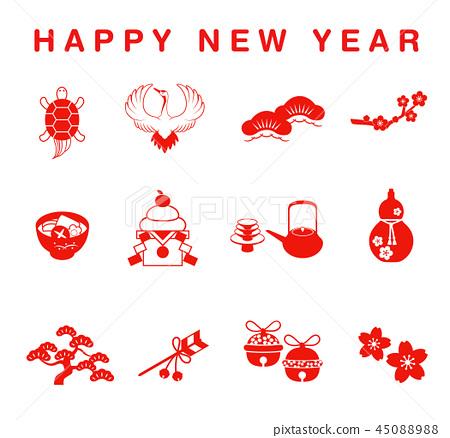 new year lucky day icon set stock illustration 45088988 pixta pixta