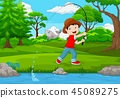 Little boy fishing on the lake 45089275