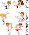 Cartoon little kid training karate collection 45089276